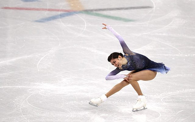 GANGNEUNG, SOUTH KOREA - FEBRUARY 21:  Evgenia Medvedeva of Olympic Athlete from Russia competes during the Ladies Single Skating Short Program on day twelve of the PyeongChang 2018 Winter Olympic Games at Gangneung Ice Arena on February 21, 2018 in Gangneung, South Korea.  (Photo by Maddie Meyer/Getty Images)